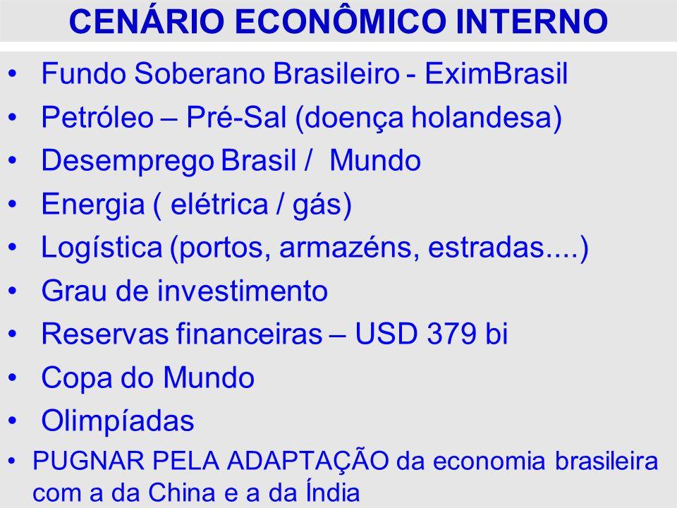 CENÁRIO ECONÔMICO INTERNO Fundo Soberano Brasileiro - EximBrasil Petróleo – Pré-Sal (doença holandesa) Desemprego Brasil / Mundo Energia ( elétrica /