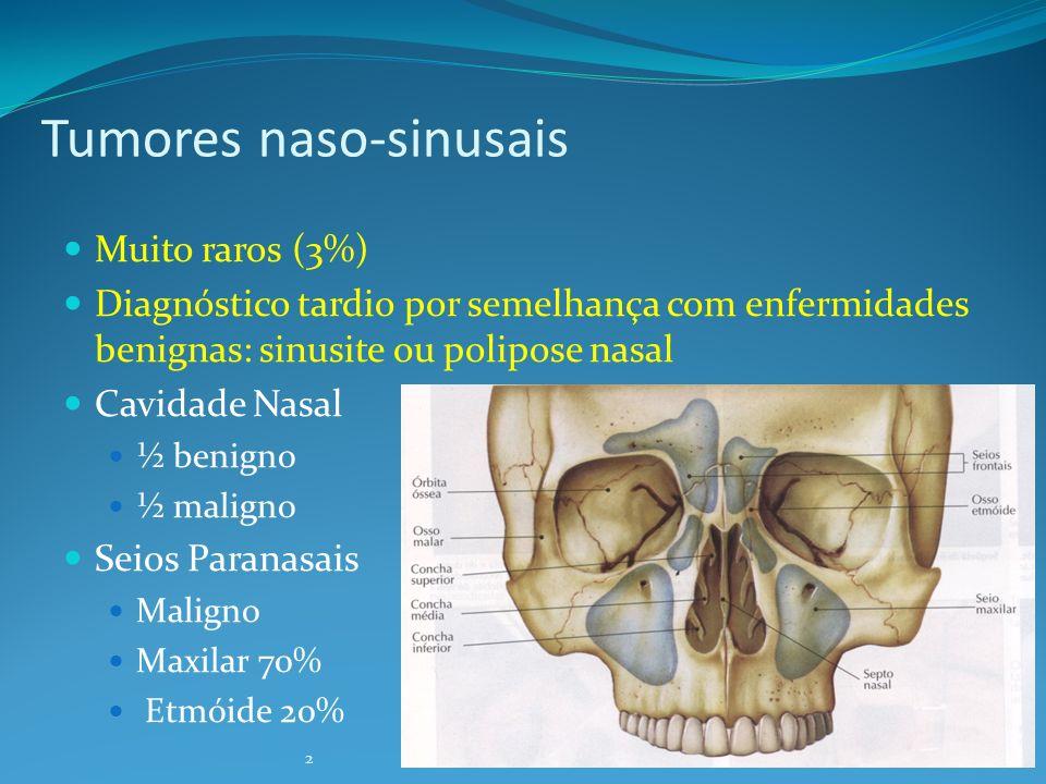 3 Tumores naso-sinusais: Epidemiologia Homens idosos Exposição a tóxicos: Madeira, corantes, poluição industrial Fumo e Alcohol ??