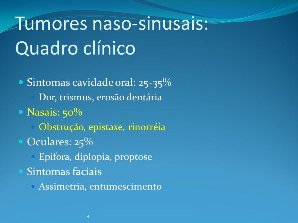 4 Tumores naso-sinusais: Quadro clínico Sintomas cavidade oral: 25-35% Dor, trismus, erosão dentária Nasais: 50% Obstrução, epistaxe, rinorréia Ocular