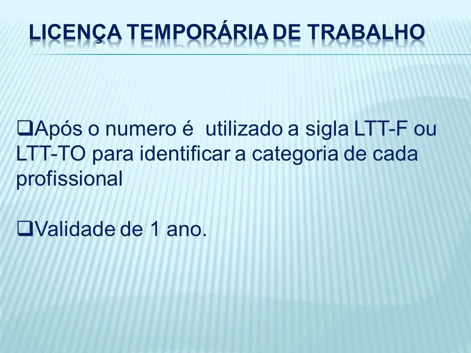 Após o numero é utilizado a sigla LTT-F ou LTT-TO para identificar a categoria de cada profissional Validade de 1 ano.