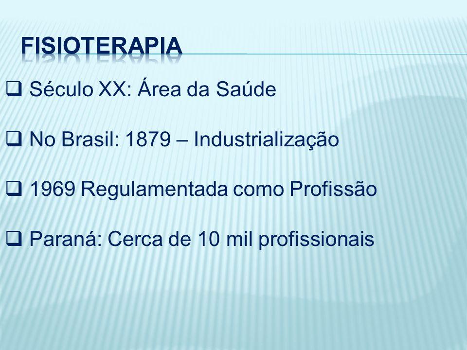 Século XX: Área da Saúde No Brasil: 1879 – Industrialização 1969 Regulamentada como Profissão Paraná: Cerca de 10 mil profissionais
