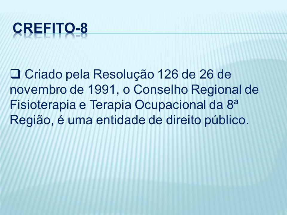 Criado pela Resolução 126 de 26 de novembro de 1991, o Conselho Regional de Fisioterapia e Terapia Ocupacional da 8ª Região, é uma entidade de direito público.