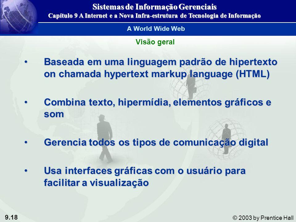 9.18 © 2003 by Prentice Hall A World Wide Web Baseada em uma linguagem padrão de hipertexto on chamada hypertext markup language (HTML)Baseada em uma linguagem padrão de hipertexto on chamada hypertext markup language (HTML) Combina texto, hipermídia, elementos gráficos e somCombina texto, hipermídia, elementos gráficos e som Gerencia todos os tipos de comunicação digitalGerencia todos os tipos de comunicação digital Usa interfaces gráficas com o usuário para facilitar a visualizaçãoUsa interfaces gráficas com o usuário para facilitar a visualização Visão geral Sistemas de Informação Gerenciais Capítulo 9 A Internet e a Nova Infra-estrutura de Tecnologia de Informação