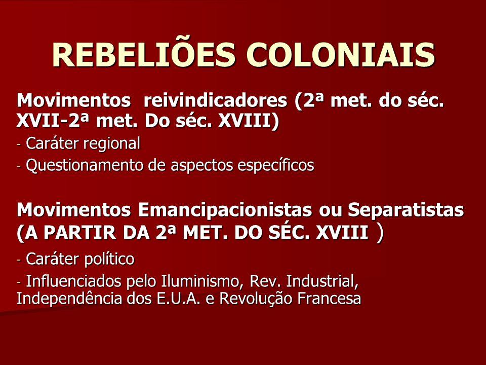 Profº Paulo Henrique REBELIÕES COLONIAIS