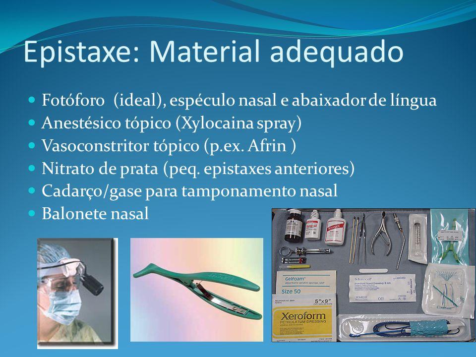 Epistaxe: Material adequado Fotóforo (ideal), espéculo nasal e abaixador de língua Anestésico tópico (Xylocaina spray) Vasoconstritor tópico (p.ex. Af