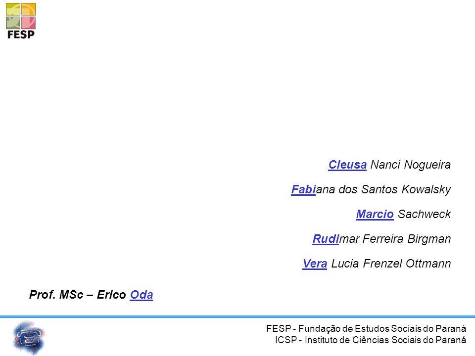FESP - Fundação de Estudos Sociais do Paraná ICSP - Instituto de Ciências Sociais do Paraná Códigos Padrão na Telefonia Fixa