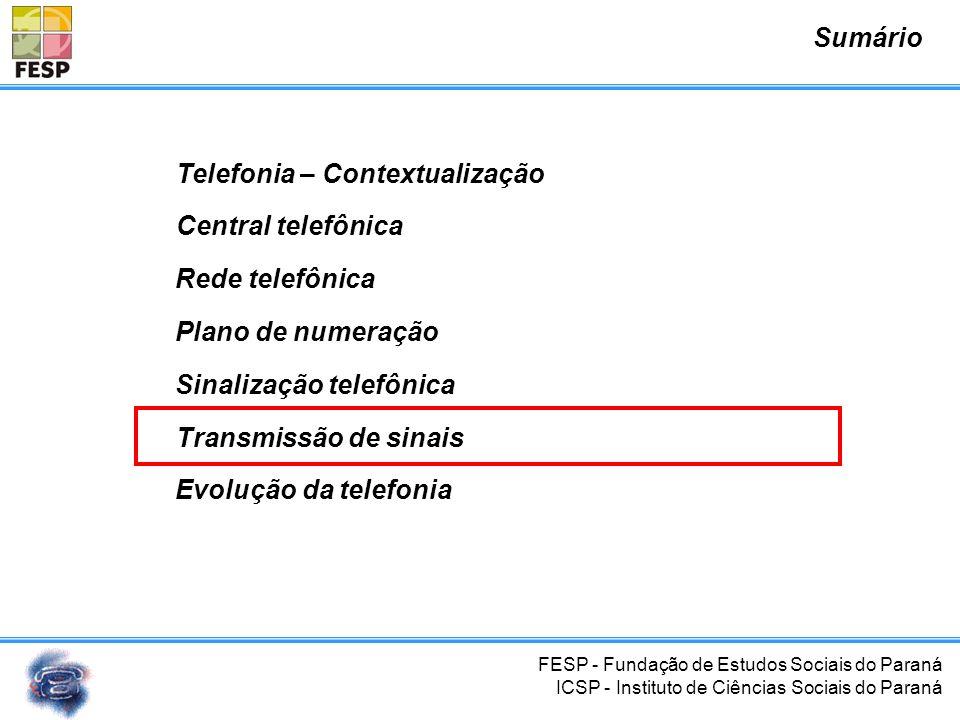 FESP - Fundação de Estudos Sociais do Paraná ICSP - Instituto de Ciências Sociais do Paraná Sinalização Acústica Sinalização de Linha Sinalização de R