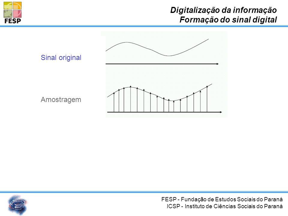 FESP - Fundação de Estudos Sociais do Paraná ICSP - Instituto de Ciências Sociais do Paraná Digitalização da informação Formação do sinal digital Sina