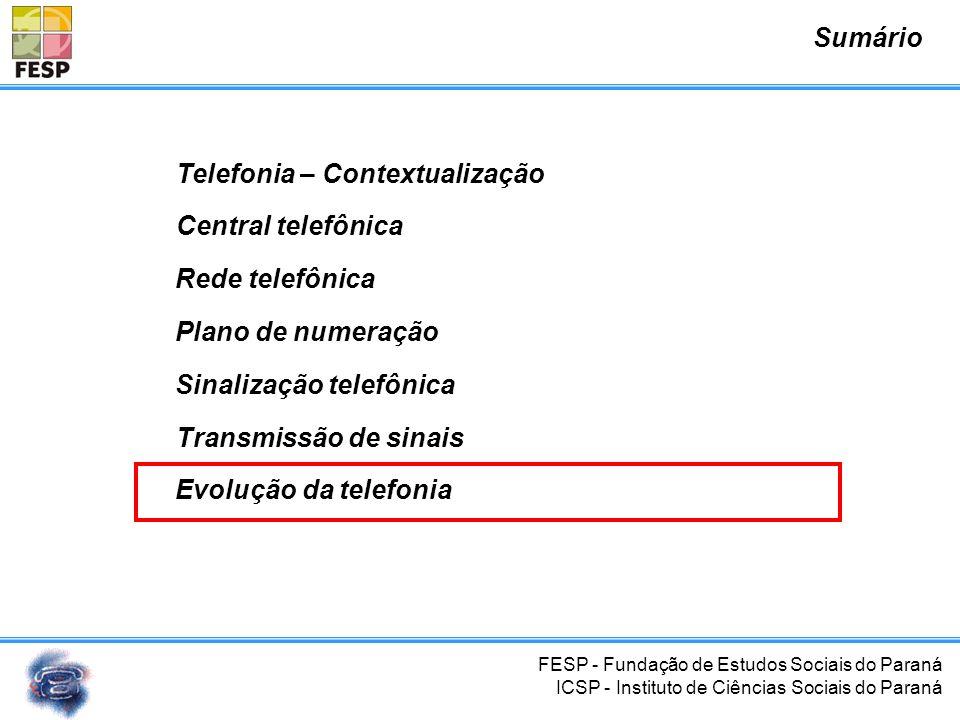 FESP - Fundação de Estudos Sociais do Paraná ICSP - Instituto de Ciências Sociais do Paraná Central telefônica Plano de numeração