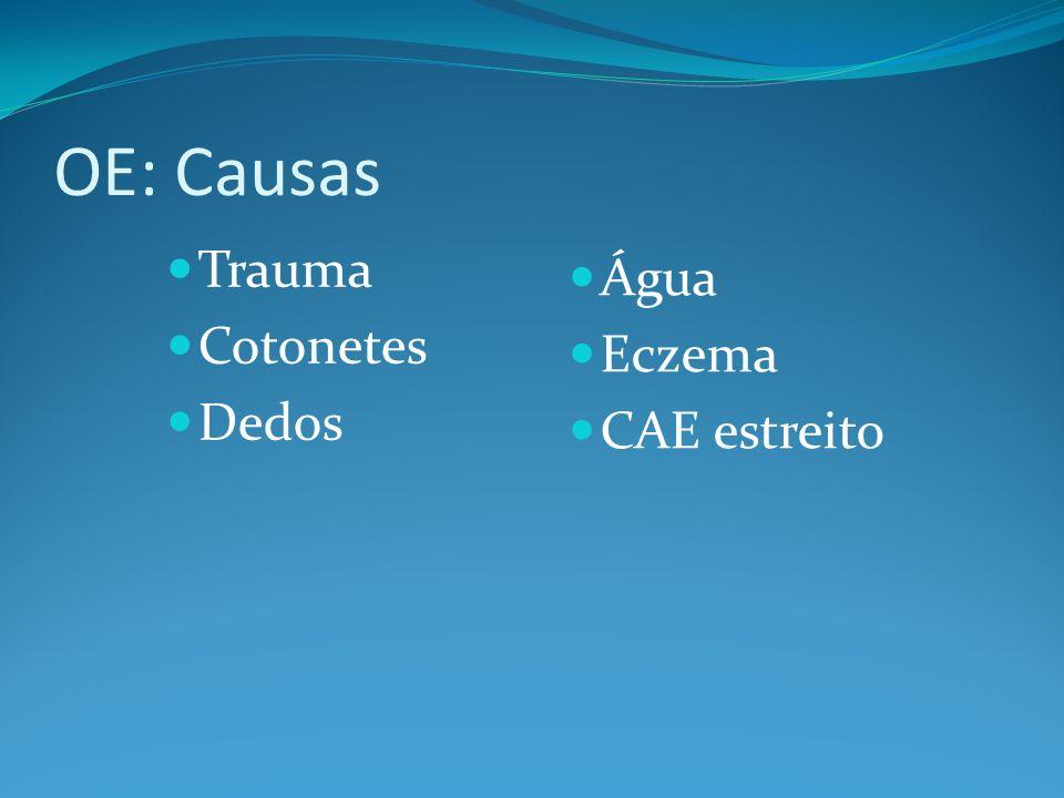 OE: Causas Trauma Cotonetes Dedos Água Eczema CAE estreito