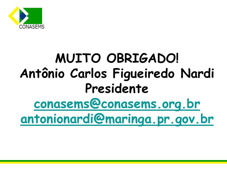 CONASEMS MUITO OBRIGADO! Antônio Carlos Figueiredo Nardi Presidente conasems@conasems.org.br antonionardi@maringa.pr.gov.br