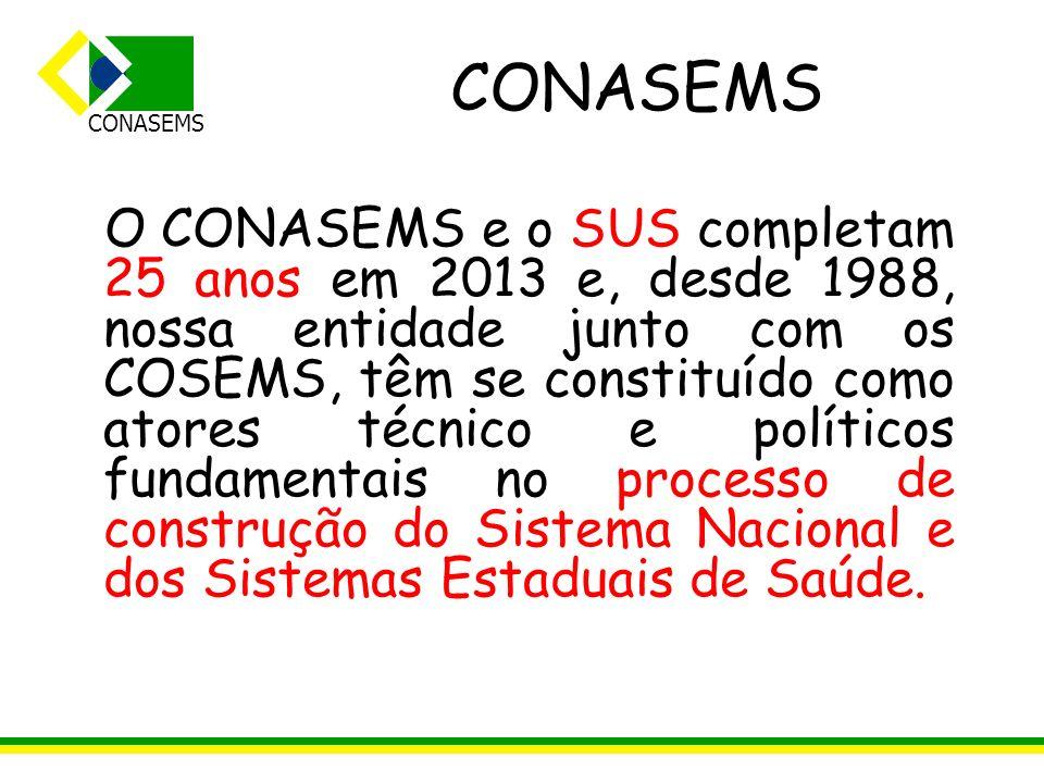 CONASEMS O CONASEMS e o SUS completam 25 anos em 2013 e, desde 1988, nossa entidade junto com os COSEMS, têm se constituído como atores técnico e polí