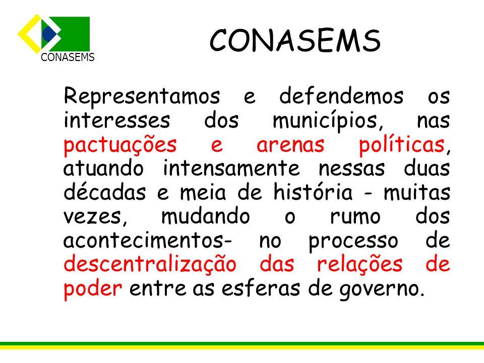 CONASEMS Representamos e defendemos os interesses dos municípios, nas pactuações e arenas políticas, atuando intensamente nessas duas décadas e meia d