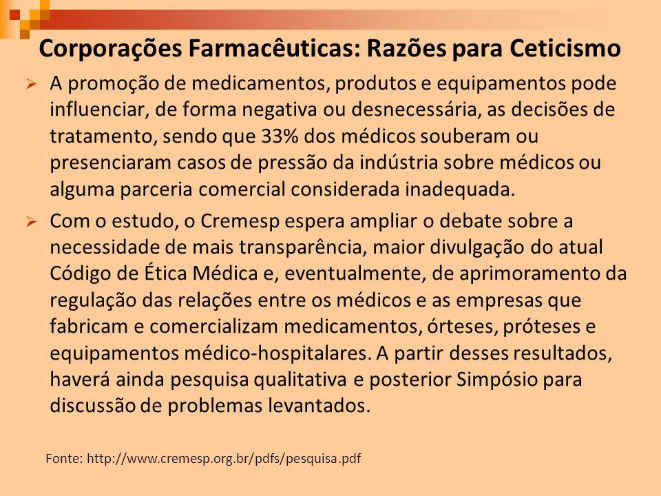 Corporações Farmacêuticas: Razões para Ceticismo A promoção de medicamentos, produtos e equipamentos pode influenciar, de forma negativa ou desnecessá