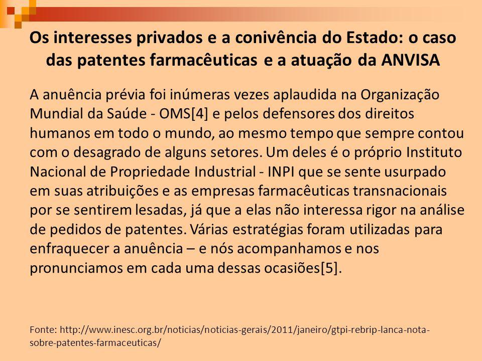 Os interesses privados e a conivência do Estado: o caso das patentes farmacêuticas e a atuação da ANVISA Fonte: http://www.inesc.org.br/noticias/notic