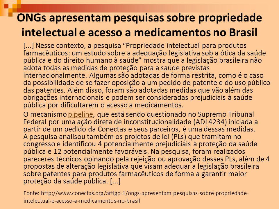 ONGs apresentam pesquisas sobre propriedade intelectual e acesso a medicamentos no Brasil [...] Nesse contexto, a pesquisa Propriedade intelectual par
