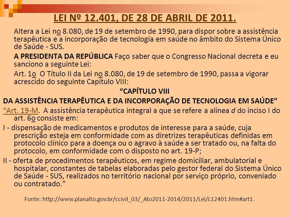 LEI Nº 12.401, DE 28 DE ABRIL DE 2011. Altera a Lei no 8.080, de 19 de setembro de 1990, para dispor sobre a assistência terapêutica e a incorporação