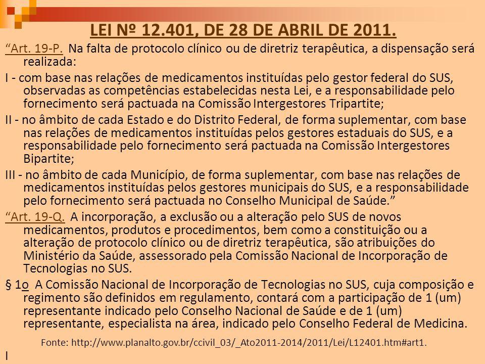 LEI Nº 12.401, DE 28 DE ABRIL DE 2011. Art. 19-P.Art. 19-P. Na falta de protocolo clínico ou de diretriz terapêutica, a dispensação será realizada: I