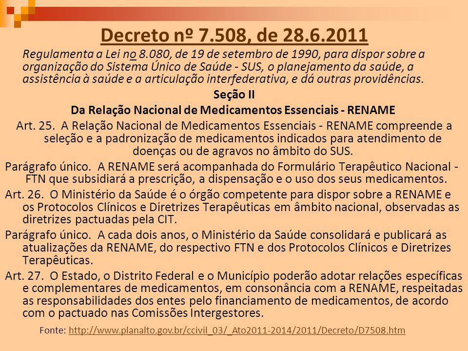Decreto nº 7.508, de 28.6.2011 Regulamenta a Lei no 8.080, de 19 de setembro de 1990, para dispor sobre a organização do Sistema Único de Saúde - SUS,