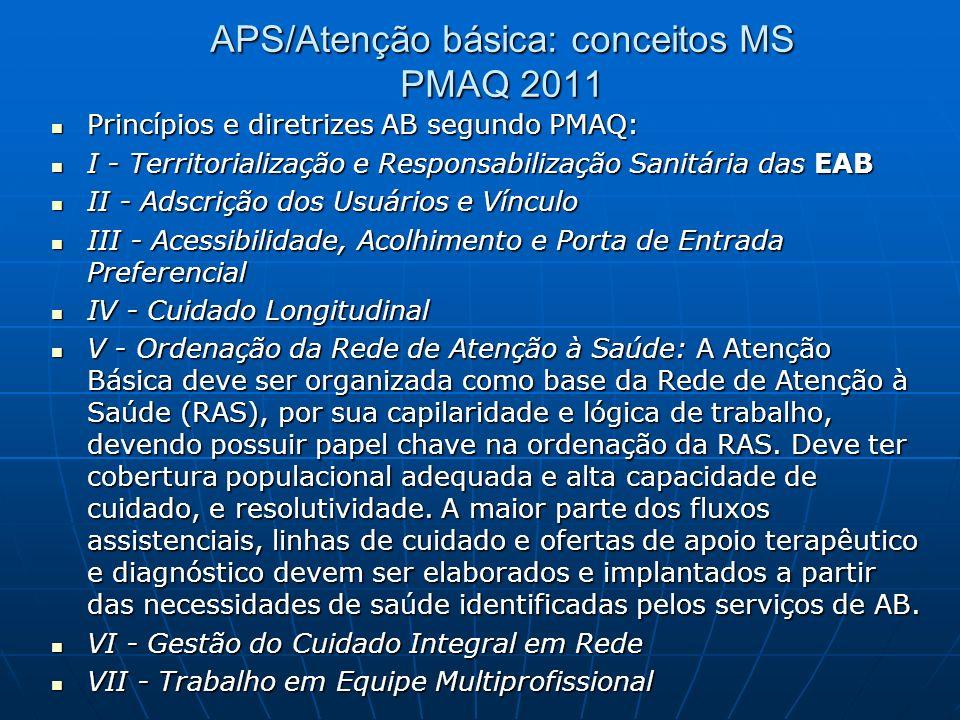 PMAQ 2011 APS: conceitos MS A Atenção Básica caracteriza-se por um conjunto de ações de saúde, no âmbito individual e coletivo, que abrangem a promoçã