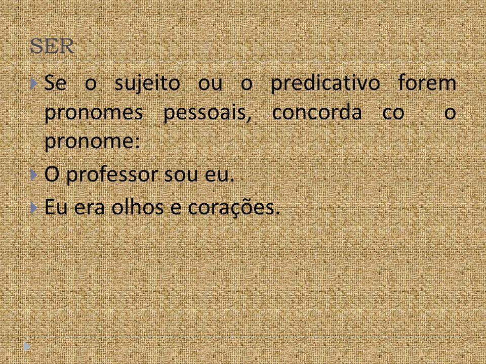 SER Se o sujeito ou o predicativo forem pronomes pessoais, concorda co o pronome: O professor sou eu.