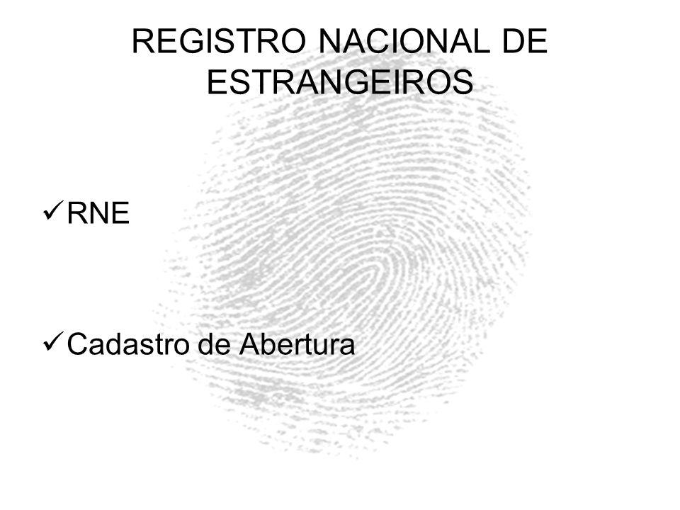 REGISTRO NACIONAL DE ESTRANGEIROS RNE Cadastro de Abertura