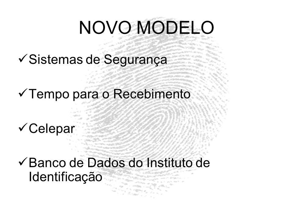 NOVO MODELO Sistemas de Segurança Tempo para o Recebimento Celepar Banco de Dados do Instituto de Identificação