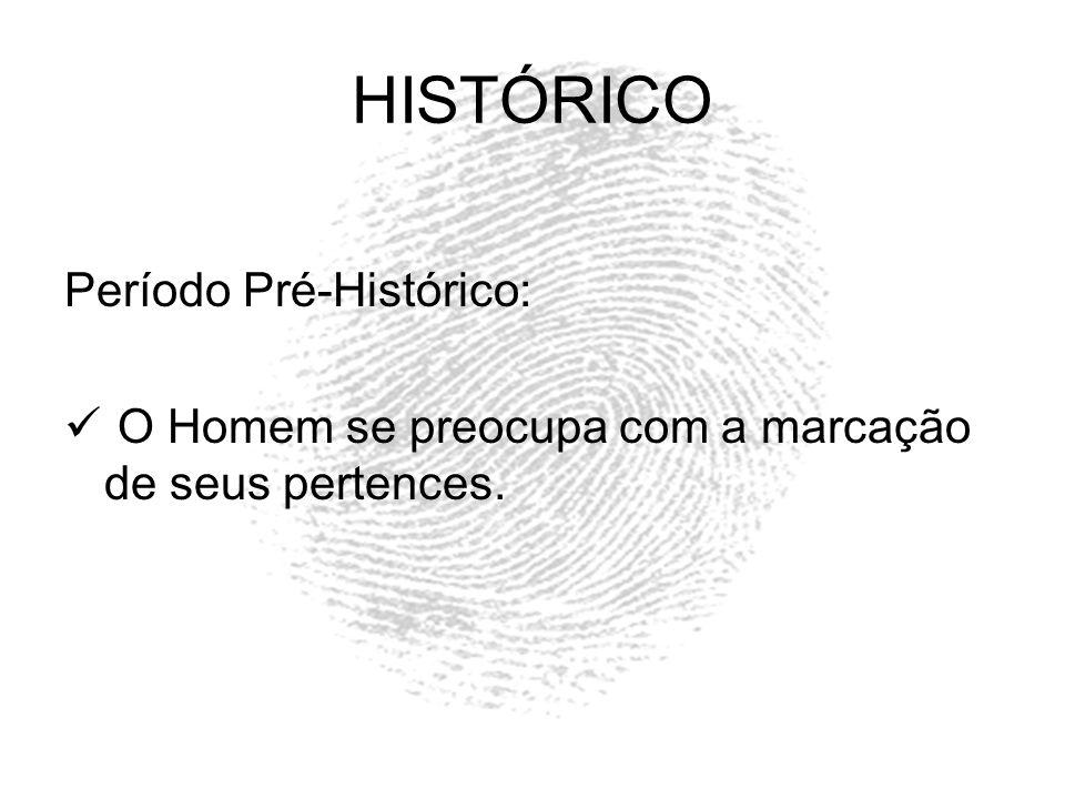 HISTÓRICO Período Pré-Histórico: O Homem se preocupa com a marcação de seus pertences.