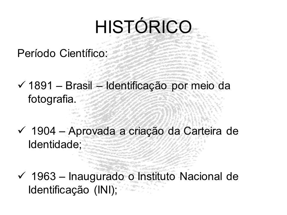 HISTÓRICO Período Científico: 1891 – Brasil – Identificação por meio da fotografia. 1904 – Aprovada a criação da Carteira de Identidade; 1963 – Inaugu