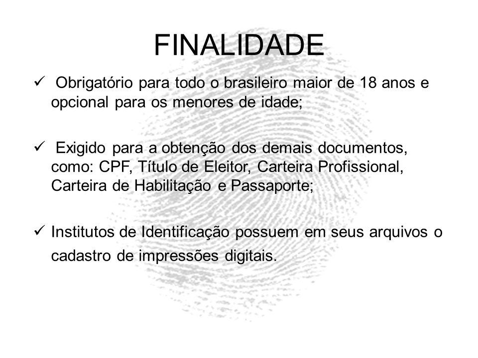 FINALIDADE Obrigatório para todo o brasileiro maior de 18 anos e opcional para os menores de idade; Exigido para a obtenção dos demais documentos, com