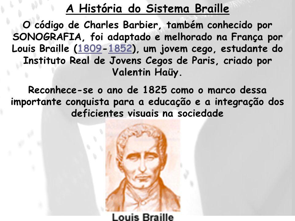 O código de Charles Barbier, também conhecido por SONOGRAFIA, foi adaptado e melhorado na França por Louis Braille (1809-1852), um jovem cego, estudan
