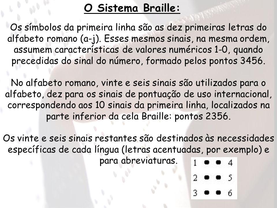 O Sistema Braille: Os símbolos da primeira linha são as dez primeiras letras do alfabeto romano (a-j). Esses mesmos sinais, na mesma ordem, assumem ca