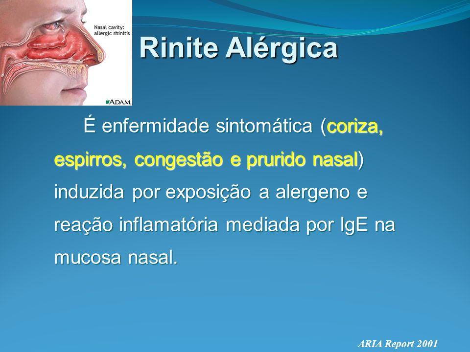 Rinite Alérgica Genética-hereditária 1 genitor com RA -> 50% probabilidade 2 genitores com RA -> 70% probabilidade Surge na infância ou adolescência, tendendo a decrescer com a idade (pode contudo surgir em qualquer idade) Prevalências iguais para ambos sexos.