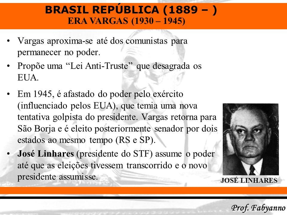 BRASIL REPÚBLICA (1889 – ) Prof. Fabyanno ERA VARGAS (1930 – 1945) Vargas aproxima-se até dos comunistas para permanecer no poder. Propõe uma Lei Anti