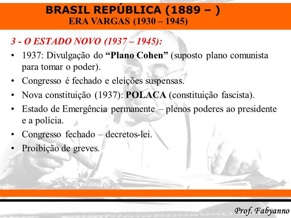 BRASIL REPÚBLICA (1889 – ) Prof. Fabyanno ERA VARGAS (1930 – 1945) 3 - O ESTADO NOVO (1937 – 1945): 1937: Divulgação do Plano Cohen (suposto plano com