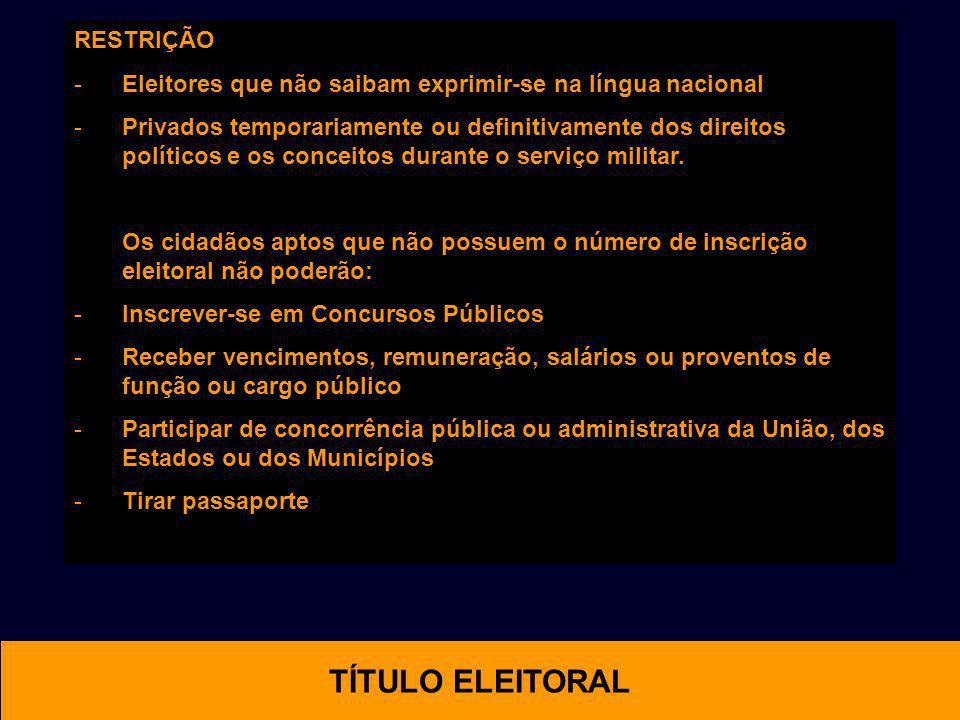 RESTRIÇÃO -Eleitores que não saibam exprimir-se na língua nacional -Privados temporariamente ou definitivamente dos direitos políticos e os conceitos