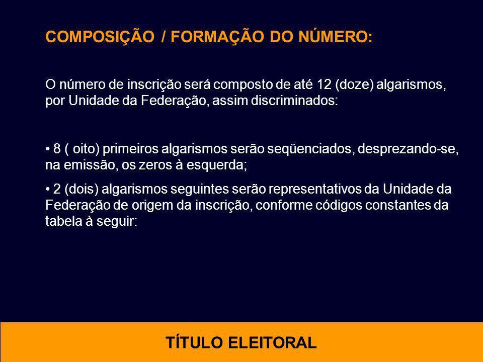 COMPOSIÇÃO / FORMAÇÃO DO NÚMERO: O número de inscrição será composto de até 12 (doze) algarismos, por Unidade da Federação, assim discriminados: 8 ( o