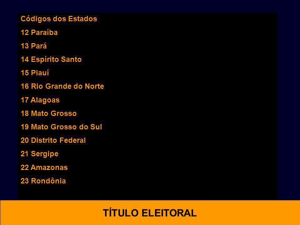 Códigos dos Estados 12 Paraíba 13 Pará 14 Espírito Santo 15 Piauí 16 Rio Grande do Norte 17 Alagoas 18 Mato Grosso 19 Mato Grosso do Sul 20 Distrito F