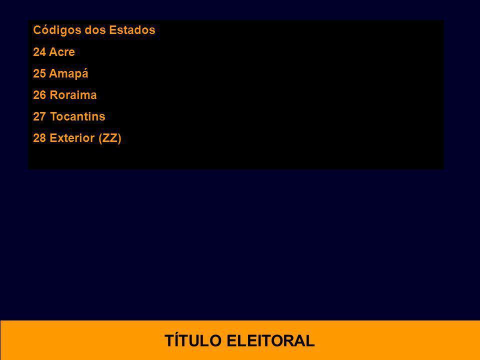 Códigos dos Estados 24 Acre 25 Amapá 26 Roraima 27 Tocantins 28 Exterior (ZZ) OTIMAL TÍTULO ELEITORAL