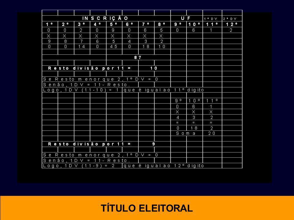 OTIMAL TÍTULO ELEITORAL Código Paraná Digito Verificador