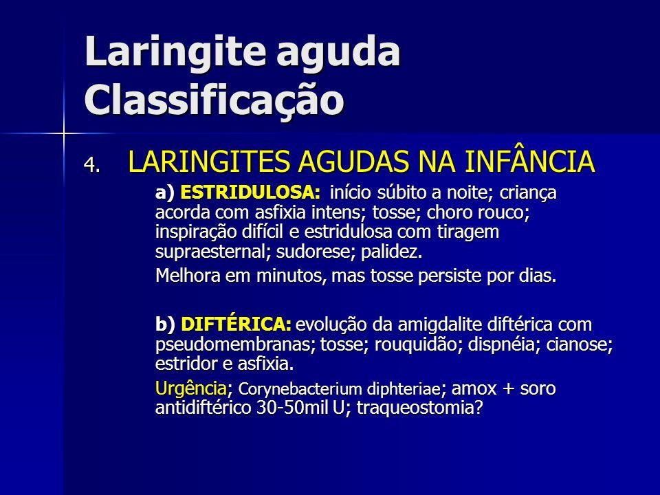 Laringite aguda Classificação 4. LARINGITES AGUDAS NA INFÂNCIA a) ESTRIDULOSA: início súbito a noite; criança acorda com asfixia intens; tosse; choro