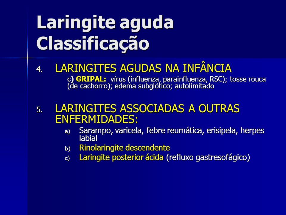 Laringite aguda Classificação 4. LARINGITES AGUDAS NA INFÂNCIA c) GRIPAL: vírus (influenza, parainfluenza, RSC); tosse rouca (de cachorro); edema subg