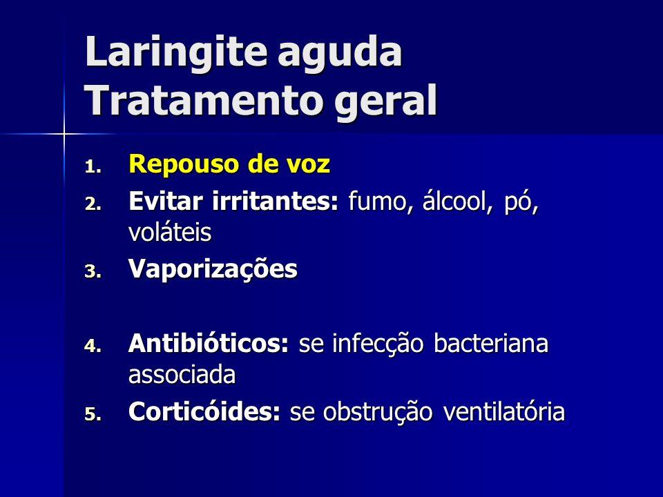 Laringite aguda Tratamento geral 1. Repouso de voz 2. Evitar irritantes: fumo, álcool, pó, voláteis 3. Vaporizações 4. Antibióticos: se infecção bacte