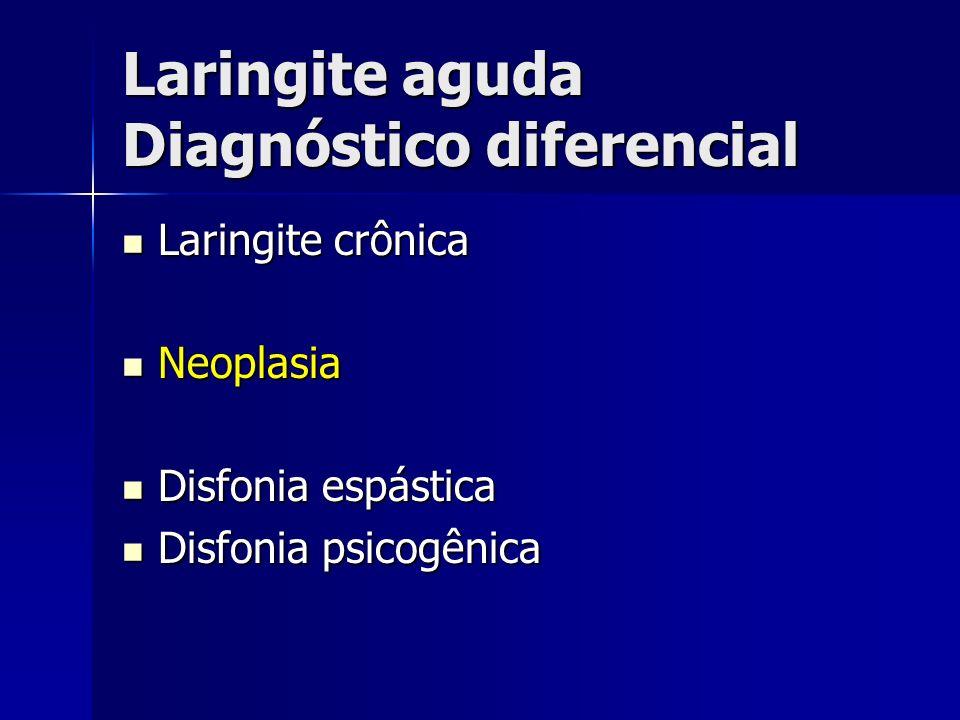 Laringite aguda Diagnóstico diferencial Laringite crônica Laringite crônica Neoplasia Neoplasia Disfonia espástica Disfonia espástica Disfonia psicogê