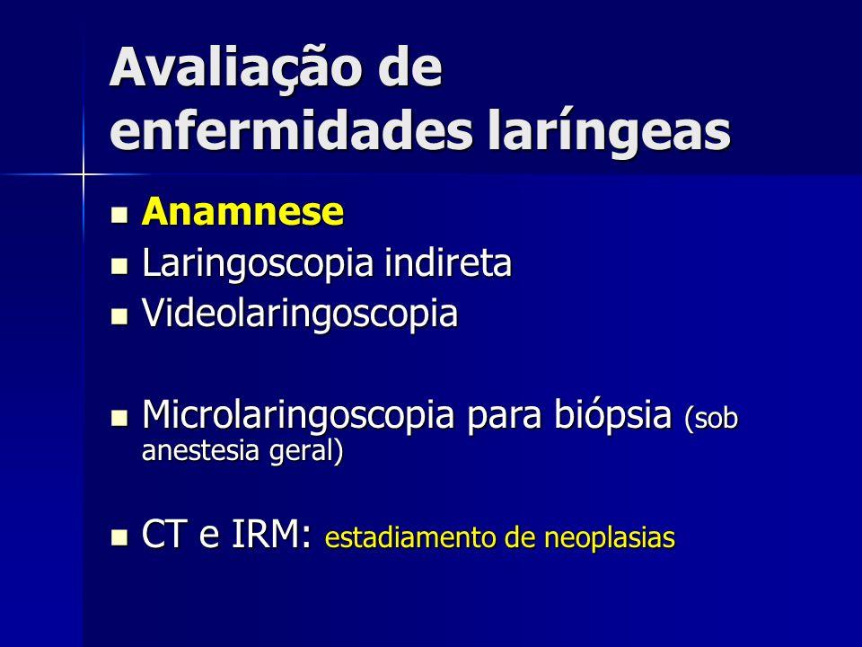 Avaliação de enfermidades laríngeas Anamnese Anamnese Laringoscopia indireta Laringoscopia indireta Videolaringoscopia Videolaringoscopia Microlaringo