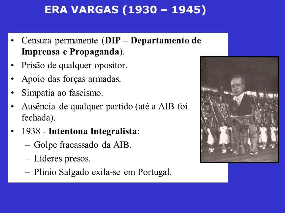 ERA VARGAS (1930 – 1945) Censura permanente (DIP – Departamento de Imprensa e Propaganda). Prisão de qualquer opositor. Apoio das forças armadas. Simp