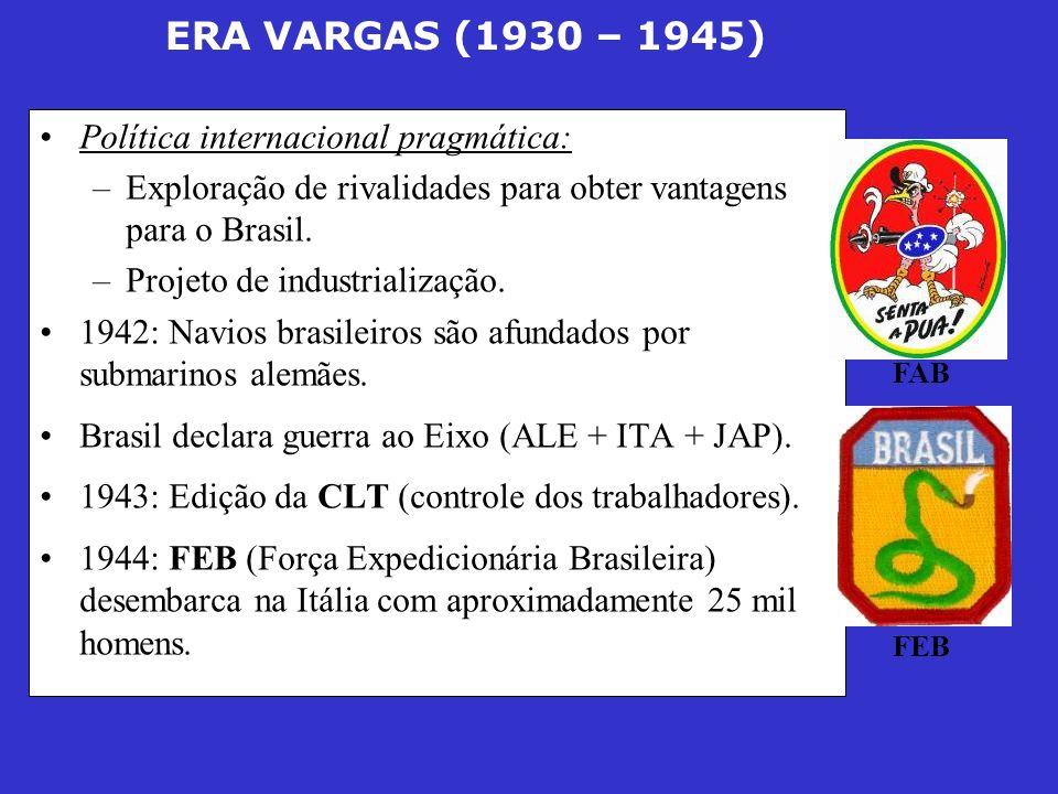 ERA VARGAS (1930 – 1945) Política internacional pragmática: –Exploração de rivalidades para obter vantagens para o Brasil. –Projeto de industrializaçã