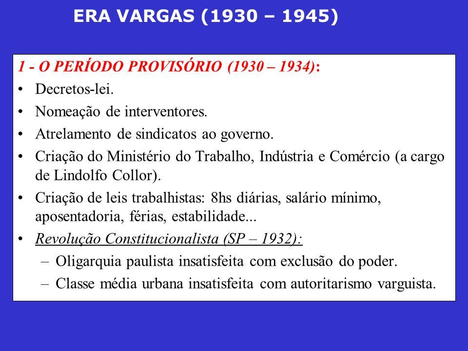 ERA VARGAS (1930 – 1945) Símbolo da luta: MMDC (sigla retirada de estudantes mortos em manifestações, cujos sobrenomes eram Martins, Miragaia, Dráusio e Camargo).