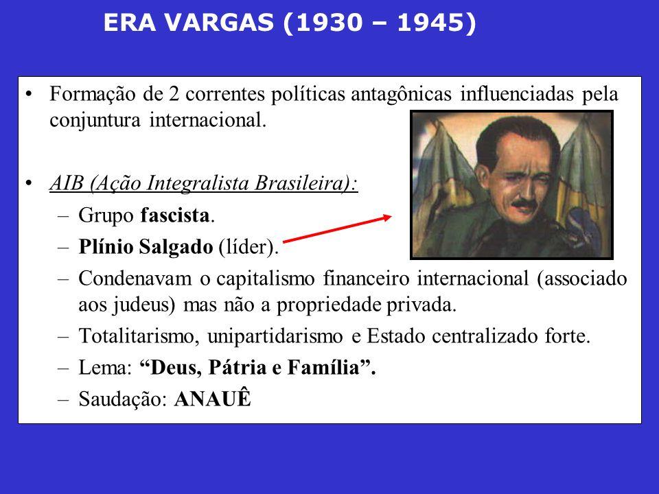 ERA VARGAS (1930 – 1945) Formação de 2 correntes políticas antagônicas influenciadas pela conjuntura internacional. AIB (Ação Integralista Brasileira)
