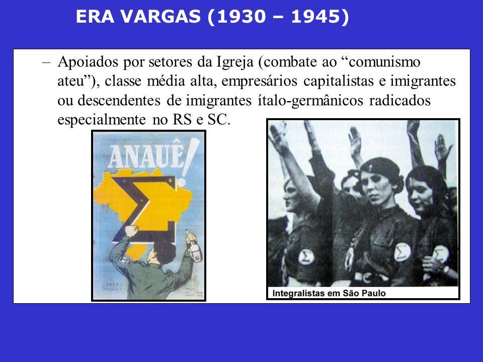 ERA VARGAS (1930 – 1945) –Apoiados por setores da Igreja (combate ao comunismo ateu), classe média alta, empresários capitalistas e imigrantes ou desc